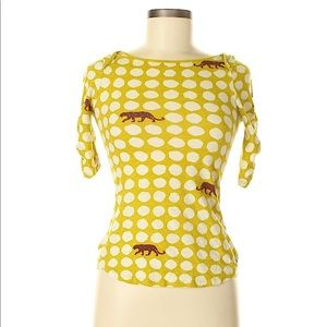 Yellow with Leopard Anthropologie Shirt